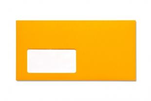 Hülle DIN lang, mit Fenster »Neon-Außendruck orange«