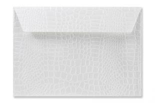 Hülle DIN C5, geprägte Krokodilleder-Optik weiß